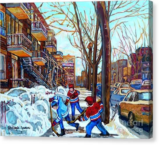 Canadian Art Street Hockey Game Verdun Montreal Memories Winter City Scene Paintings Carole Spandau Canvas Print