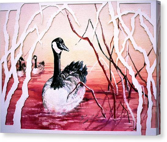 Canadian Geese Sunset Canvas Print