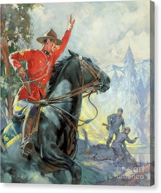 Policeman Canvas Print - Canadian Mounties by James Edwin McConnell