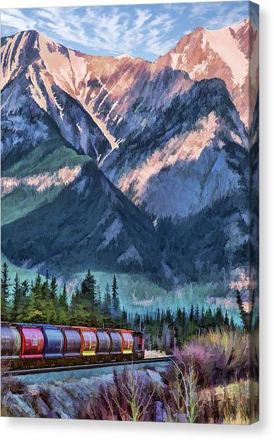 Freight Trains Canvas Print - Canadian National Railway In Jasper by Christopher Arndt