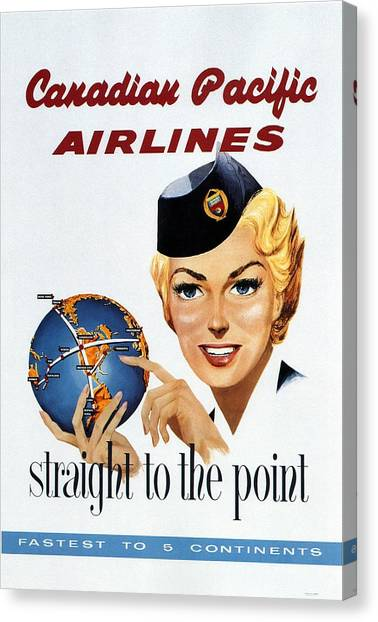 Canadian Pacific Airlines - Straight To The Point - Retro Travel Poster - Vintage Poster Canvas Print