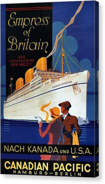 Canadian Pacific - Hamburg-berlin - Empress Of Britain - Retro Travel Poster - Vintage Poster Canvas Print