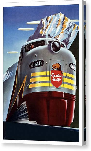 Canadian Pacific - Railroad Engine, Mountains - Retro Travel Poster - Vintage Poster Canvas Print