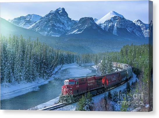 Canadian Pacific Railway Through The Rocky Mountains Canvas Print