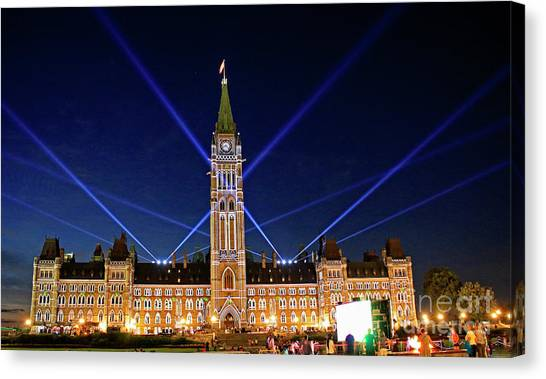 Parliament Hill Canvas Print - Canadian Parliament At Night by Charline Xia