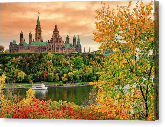Parliament Hill Canvas Print - Canadian Parliament Hill In Autumn by Charline Xia