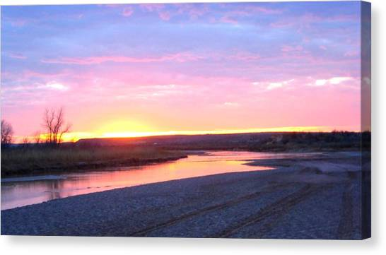 Canvas Print featuring the photograph Canadian River Sunset by Deleas Kilgore