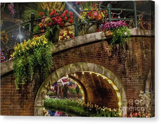 Canal And Bridge  Canvas Print