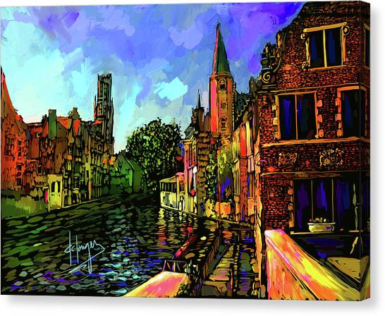Canal In Bruges Canvas Print