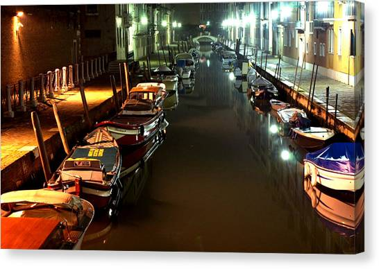 Canal In Venice At Night Canvas Print by Michael Henderson