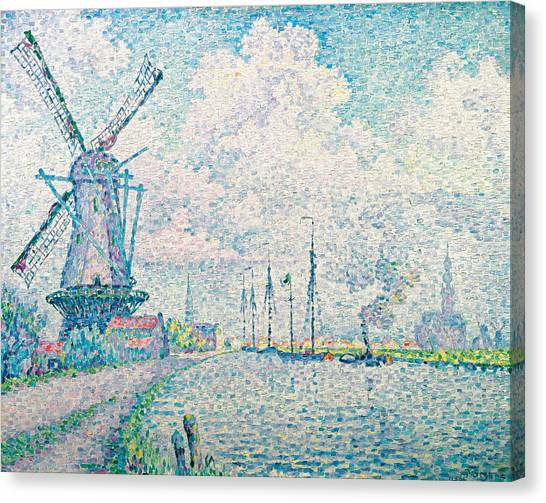 Divisionism Canvas Print - Canal Of Overschie by Paul Signac
