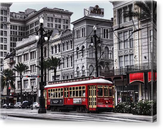 Canal Canvas Print - Canal Street Trolley by Tammy Wetzel