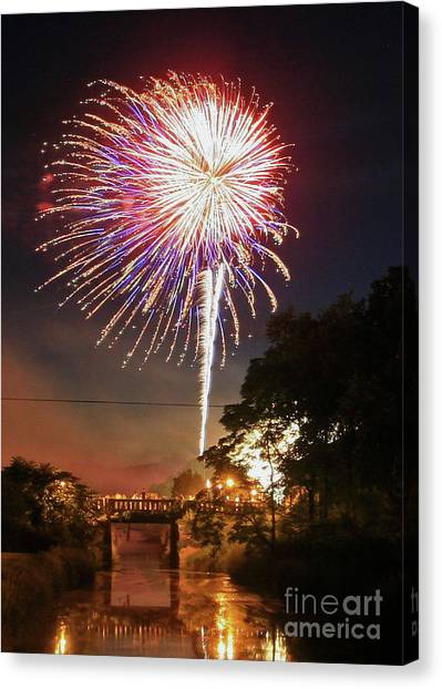 Canal View Of Fire Works Canvas Print