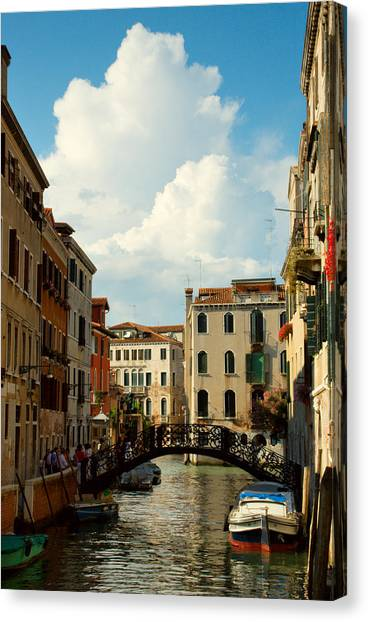 Canal With Iron Bridge In Venice Canvas Print by Michael Henderson