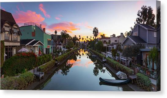 Venice Beach Canvas Print - Canals Of Venice Beach by Sean Davey