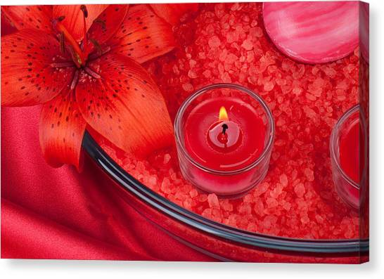 Grapefruits Canvas Print - Candle by Jackie Russo