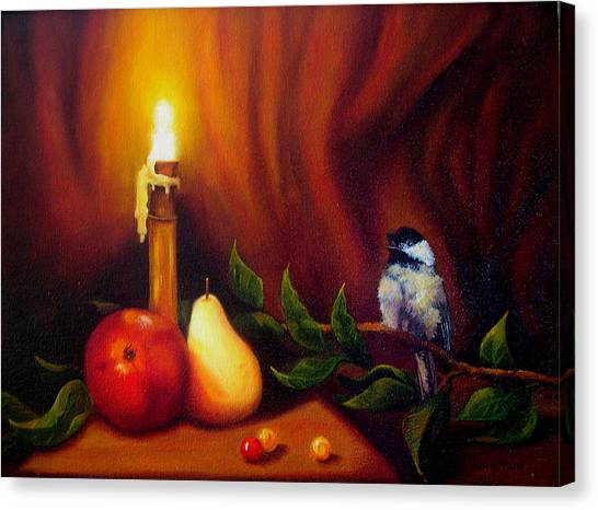 Candle Light Melody Canvas Print by Valerie Aune