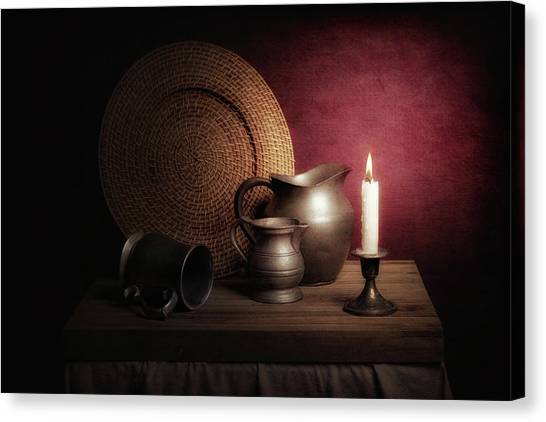 Pitchers Canvas Print - Candle Light Still Life by Tom Mc Nemar