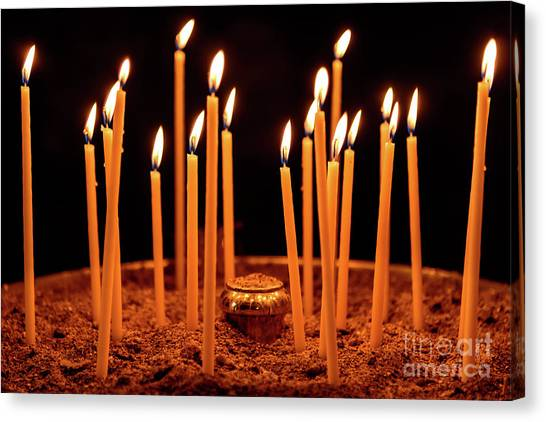 St Kyriaki Canvas Print - Candles At The Church Of Holy Luke At Monastery Of Hosios Loukas In Greece by Global Light Photography - Nicole Leffer