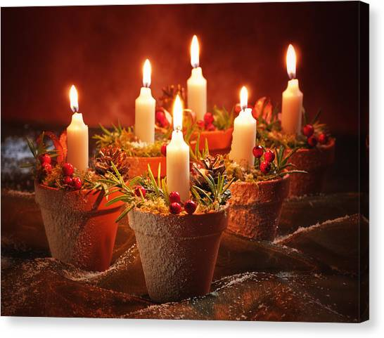 Wreath Canvas Print - Candles In Terracotta Pots by Amanda Elwell