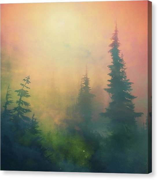 Surrealism Canvas Print - Candy Clouds On Goat Mountain by Squashyhead