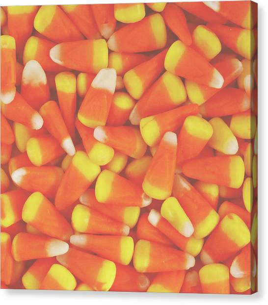 Corn Canvas Print - Candy Corn Square- By Linda Woods by Linda Woods