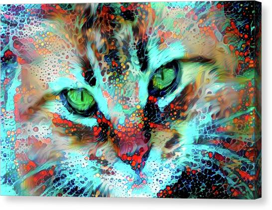 Candy The Colorful Green Eyed Cat Canvas Print