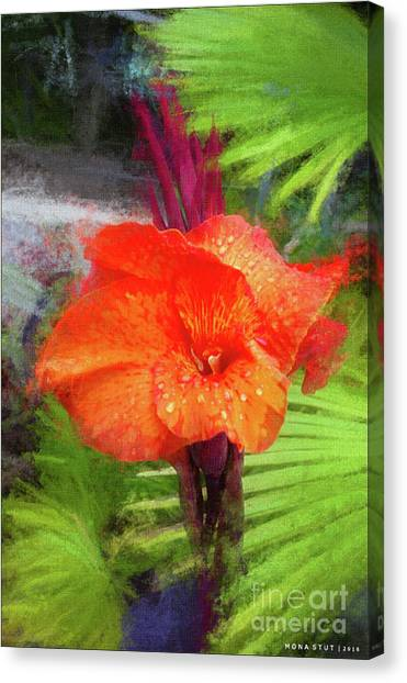 Canna Canvas Print - Orange Red Canna Lily by Mona Stut