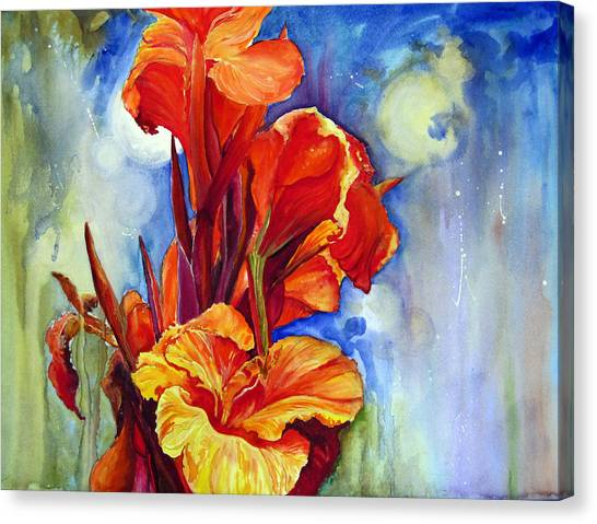 Canvas Print featuring the painting Canna Lilies by Priti Lathia