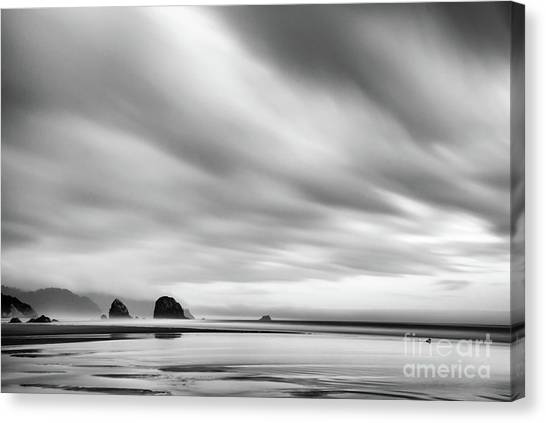 Cannon Beach Long Exposure Sunrise In Black And White Canvas Print