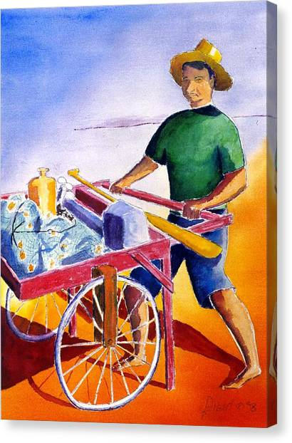 Canoe Fisherman With Cart Canvas Print by Buster Dight