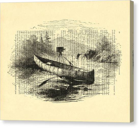 Canoe Canvas Print - Canoe With Field Camera In Black And White Antique Illustration by Madame Memento