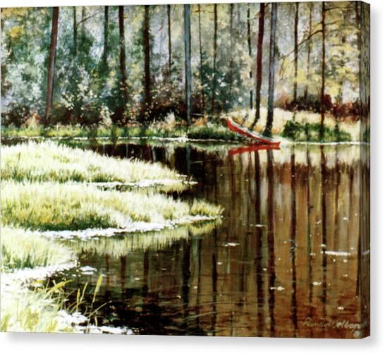 Canoe On Pond Canvas Print