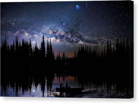Canoeing - Milky Way - Night Scene Canvas Print