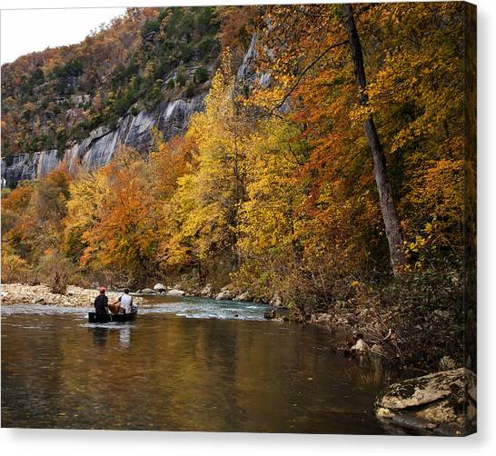 Canoeing The Buffalo River At Steel Creek Canvas Print