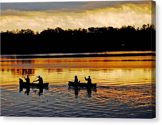 Canoes On The Potomac River Canvas Print