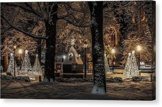 Canopy Of Christmas Lights Canvas Print