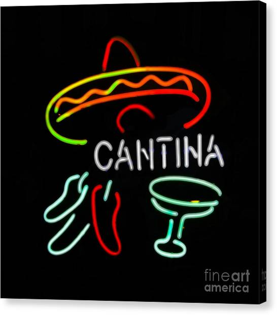 Cantina Neon Sign Canvas Print