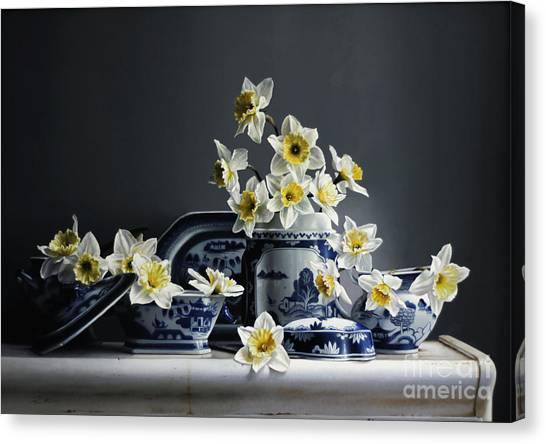 Daffodils Canvas Print - Canton With Daffodils by Lawrence Preston
