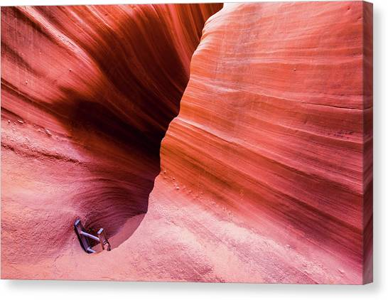 Canvas Print featuring the photograph Canyon Ladder by Stephen Holst