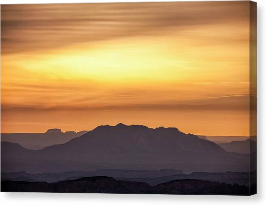 Canvas Print featuring the photograph Canyon Layers With Fiery Sunrise by Denise Bush