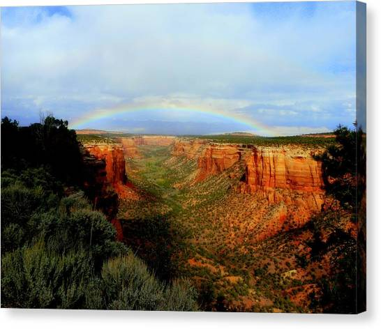 Canyon Rainbow Canvas Print by Ellen  Leigh