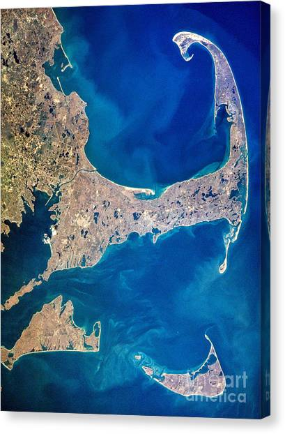 Satellite Canvas Print - Cape Cod And Islands Spring 1997 View From Satellite by Matt Suess