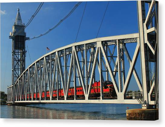 Cape Cod Canal Railroad Bridge Train Canvas Print