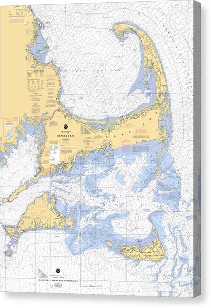 Cape Cod, Martha's Vineyard And Nantucket Chart Canvas Print