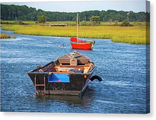 Chatham Canvas Print - Cape Cod Red Boat Chatham Ma Ladder by Toby McGuire