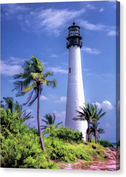 Canvas Print featuring the painting Cape Florida Lighthouse by Christopher Arndt