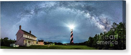 Cape Hatteras Light House Milky Way Panoramic Canvas Print