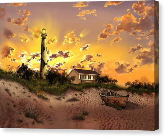 Coast Guard Canvas Print - Cape Lookout Lighthouse 2 by Bekim Art
