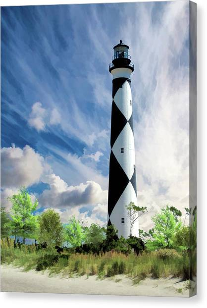 Canvas Print featuring the painting Cape Lookout Lighthouse by Christopher Arndt